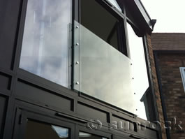 Modern Juliet 'Halifax' infinity glass balconies fitted on 2 sides by Sunrock Balconies in Lincolnshire