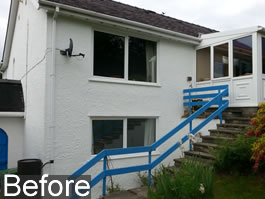 after installation of Infinity Glass Balcony with stair balustrades and balcony gate in Snowdonia North Wales