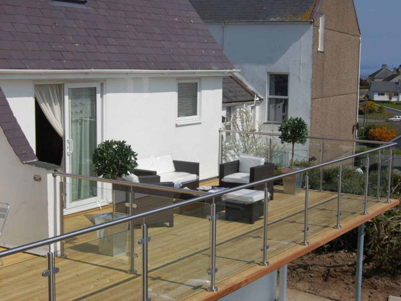 stainless steel glass balcony holiday home abersoch