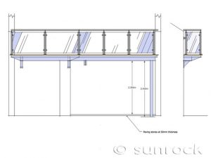 Front Side Elevation Barbican Balcony Drawing