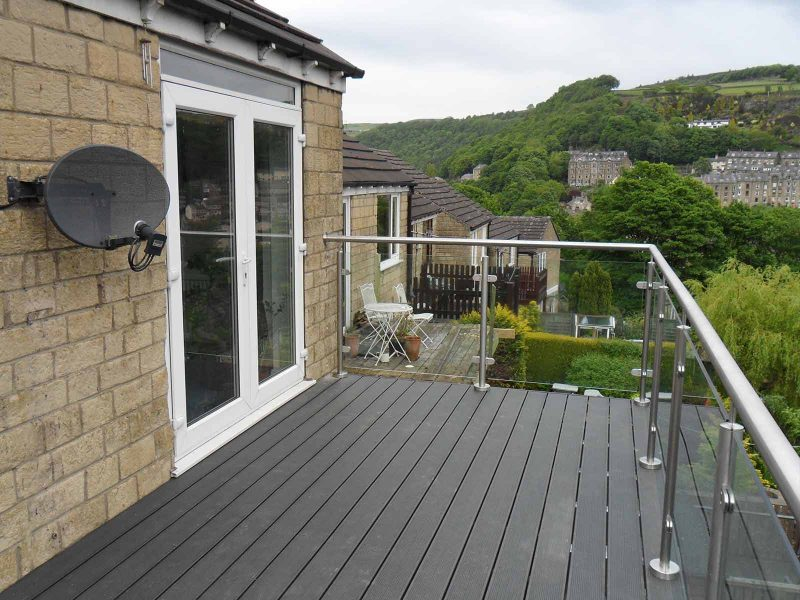 glass balcony recycled floor hebden bridge