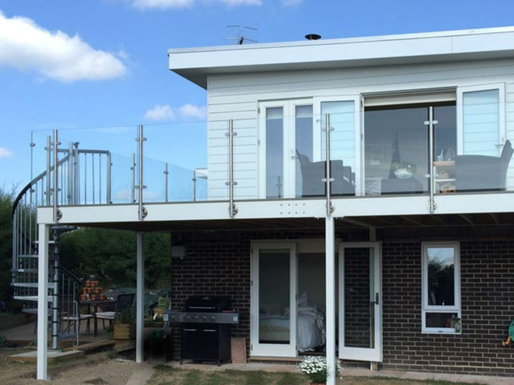 Refurbished glass steel balcony no handrail bognor regis for Stainless steel balcony