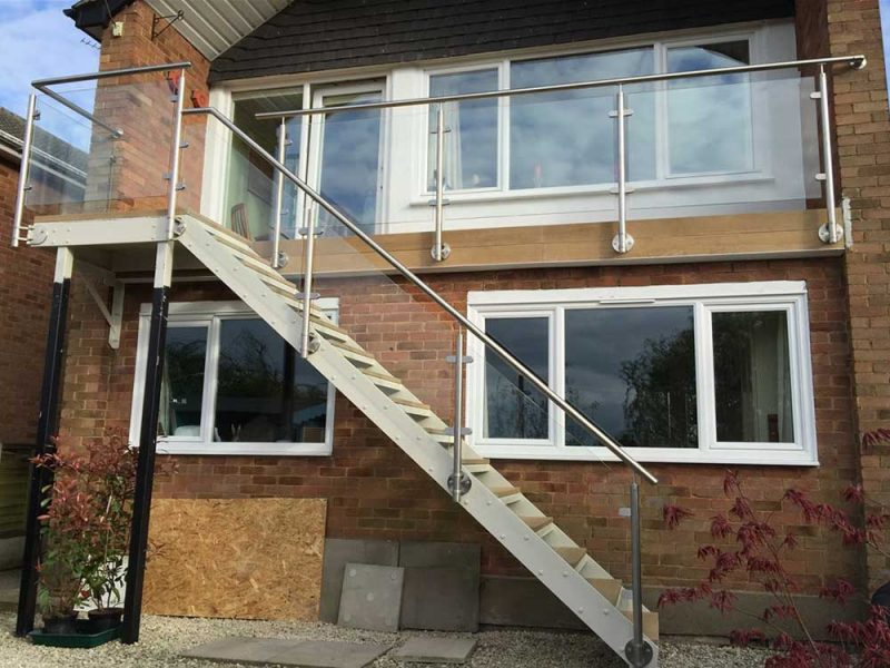 Sunrock glass steel balcony with staircase face fixed