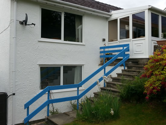 Before Installation of Infinity Glass Balcony with Steel Handrail Steps and Gate