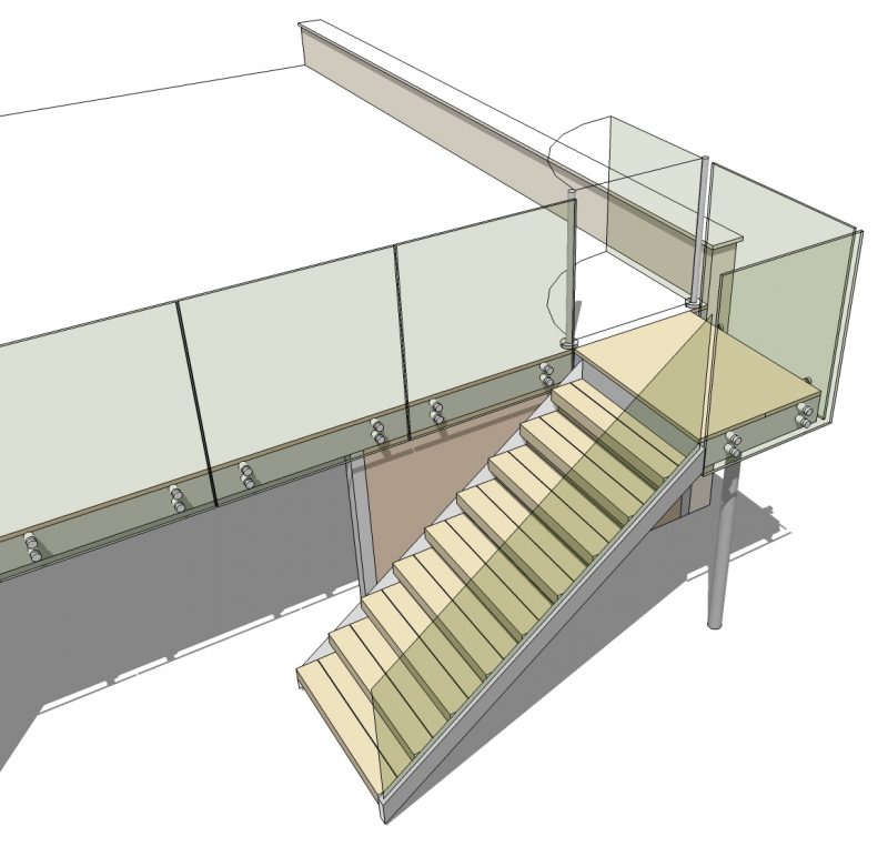 design drawing steps with infinity glass balustrades and glass gate