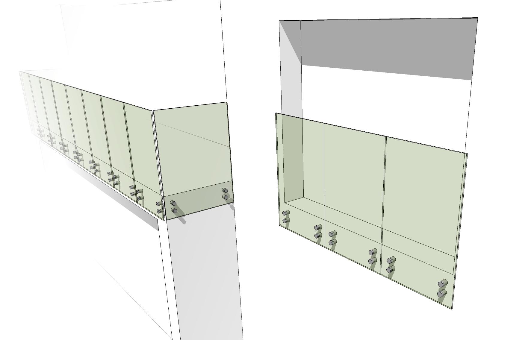 Bottom Button Fix Infinity Glass Balustrades Juliet Balcony 3d