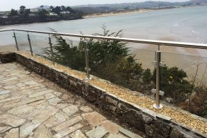 glass balustrades with steel handrails