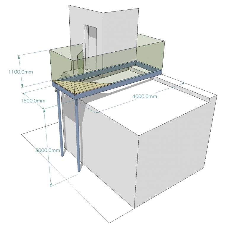 3d image of infinity glass balcony