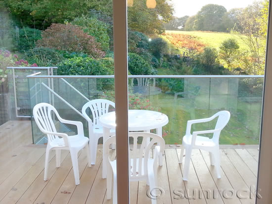 View from Inside - Infinity Glass Balcony with Handrail, Steps and Gate in Snowdonia North Wales