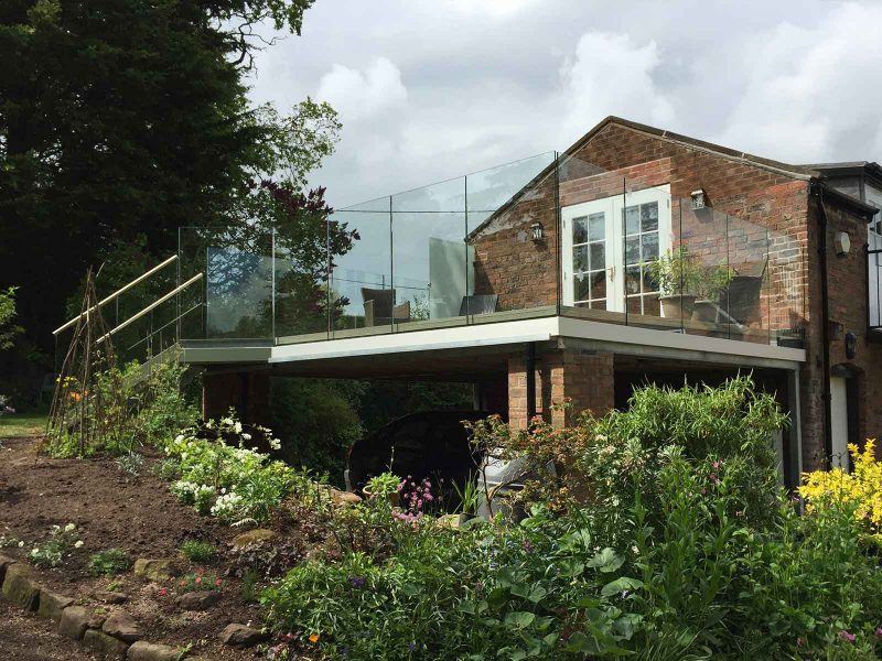 Infinity glass balcony with steps cheshire