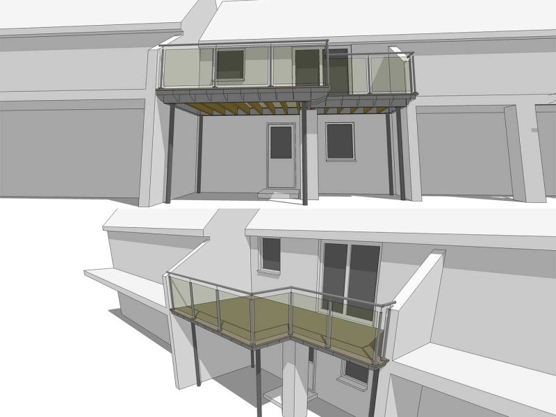 L-shaped balcony 3d drawing