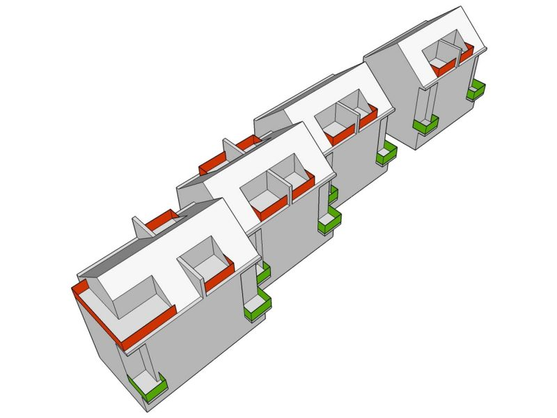 3d drawing of scheme of balconies for new housing