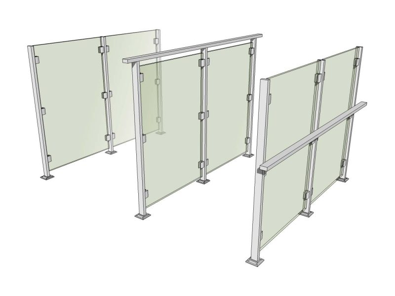 3d options for double height glass balustrades