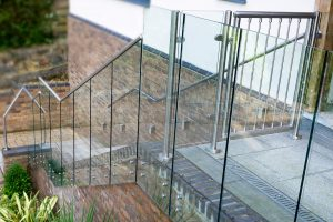 steel gate with infinity balustrades