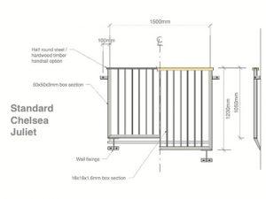 steel juliet balconies drawing