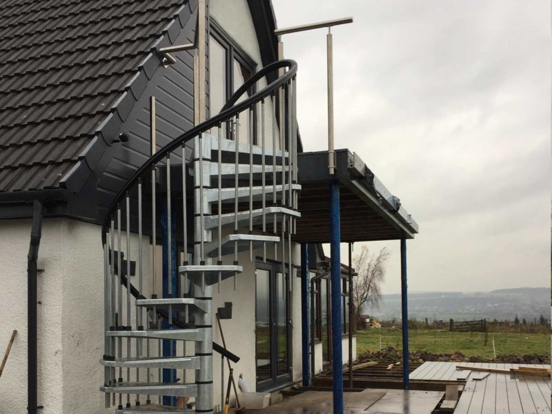 bespoke balcony frame with spiral staircase