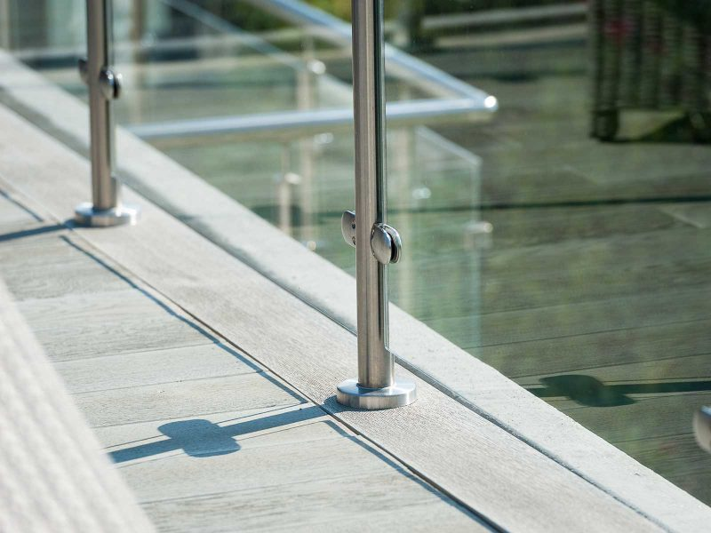 Glass & stainless steel balustrade closeup