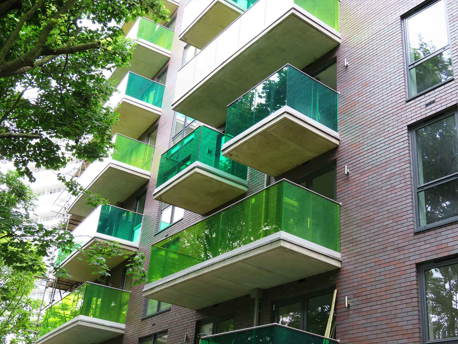 green glass balconies flats battersea