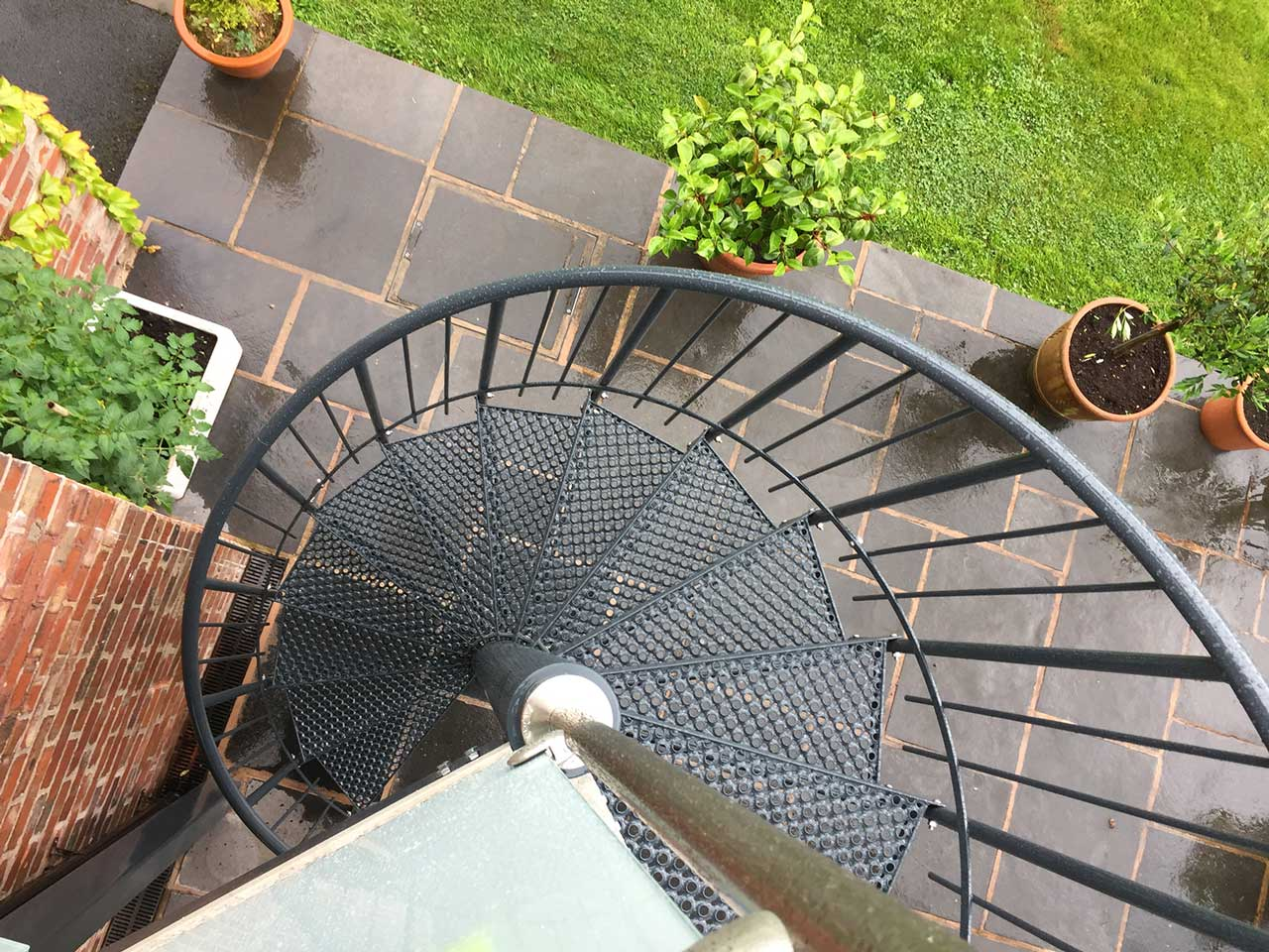 Powder Coated Deluxe Spiral Staircase From Top Of Balcony · External Spiral  Staircase