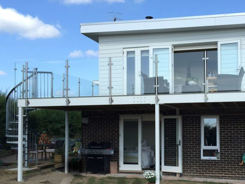 glass stainless steel balconies