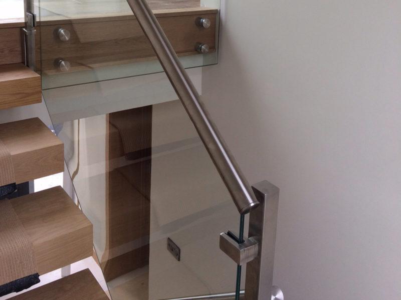 staircase glass balustrade steel handrail