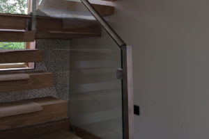 staircase glass balustrade steel newel post
