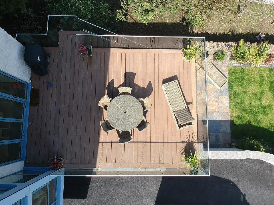 ariel view flat roof balcony